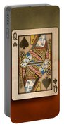 Queen Of Spades In Wood Portable Battery Charger
