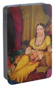 Queen Princess Sitting  Dressing From Her Maids Kaneej  Royal Art Oil Painting On Canvas Portable Battery Charger