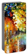 Quiet Corner-garden On The Stones - Palette Knife Oil Painting On Canvas By Leonid Afremov Portable Battery Charger