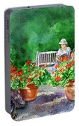 Quiet Moment Reading In The Garden Portable Battery Charger
