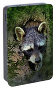 Raccoon In A Log Portable Battery Charger
