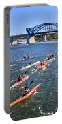 Race On The River Portable Battery Charger by Tom and Pat Cory