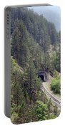 Railroad And Tunnels On Mountain Portable Battery Charger