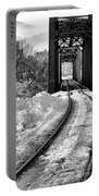 Railroad Bridge In Winter Portable Battery Charger