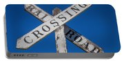 Railroad Crossing Wooden Sign Portable Battery Charger