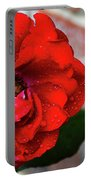 Rain Covered Red Rose Portable Battery Charger
