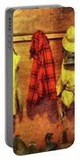 Rain Gear And Red Plaid Jacket Portable Battery Charger