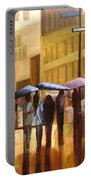 Rain In Manhattan Number Seventeen Portable Battery Charger by Tate Hamilton