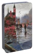Rain On Sixth Avenue Portable Battery Charger