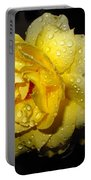 Rain Soaked Yellow Rose Portable Battery Charger