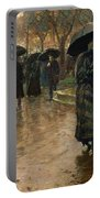 Rain Storm Union Square Portable Battery Charger by Childe Hassam