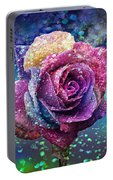 Rainbow Rose In The Rain Portable Battery Charger