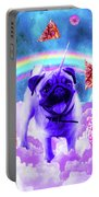 Rainbow Unicorn Pug In The Clouds In Space Portable Battery Charger