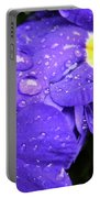 Raindrops On Blue Flowers Portable Battery Charger