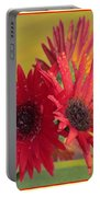 Raindrops On Gerbera Portable Battery Charger