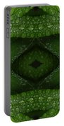 Raindrops On Green Leaves Collage Portable Battery Charger