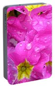 Raindrops On Pink Flowers 2 Portable Battery Charger