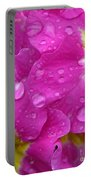 Raindrops On Pink Flowers Portable Battery Charger