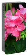 Raindrops On Pink Geranium Portable Battery Charger