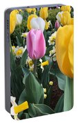 Raindrops On Tulips Portable Battery Charger