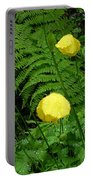 Raindrops On Yellow And Green Portable Battery Charger