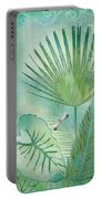Rainforest Tropical - Elephant Ear And Fan Palm Leaves W Botanical Dragonfly Portable Battery Charger by Audrey Jeanne Roberts
