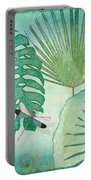 Rainforest Tropical - Philodendron Elephant Ear And Palm Leaves W Botanical Dragonfly 2 Portable Battery Charger by Audrey Jeanne Roberts