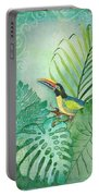 Rainforest Tropical - Tropical Toucan W Philodendron Elephant Ear And Palm Leaves Portable Battery Charger by Audrey Jeanne Roberts