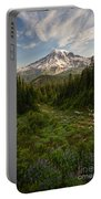 Rainier And Majestic Meadows Of Wildflowers Portable Battery Charger