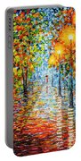Rainy Autumn Evening In The Park Acrylic Palette Knife Painting Portable Battery Charger