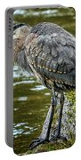 Rainy Day Heron Portable Battery Charger by Belinda Greb