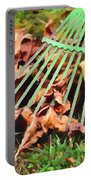 Raking The Fallen Autumn Leaves Portable Battery Charger