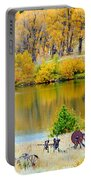 Ranch Pond In Autumn Portable Battery Charger