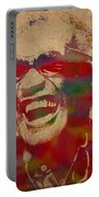 Ray Charles Watercolor Portrait On Worn Distressed Canvas Portable Battery Charger