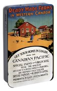Ready Made Farms In Western Canada - Canadian Pacific - Retro Travel Poster - Vintage Poster Portable Battery Charger