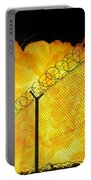 Realistic Fiery Explosion Behind Restricted Area Barbed Wire Fence Portable Battery Charger