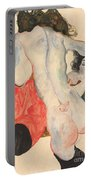 Reclining Woman In Red Trousers And Standing Female Nude Portable Battery Charger by Egon Schiele