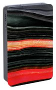 Red And Black Art - Fire Lines - Sharon Cummings Portable Battery Charger
