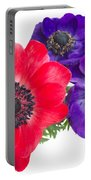 Red And Blue Anemone Flowers  Portable Battery Charger
