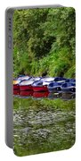 Red And Blue Boats On The River Coquet Portable Battery Charger