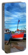 Red And Blue Fishing Boats Tenby Port Portable Battery Charger