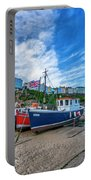 Red And Blue Fishing Trawler In Low Tide Portable Battery Charger