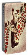 Red And Brown Giraffes Portable Battery Charger