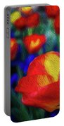 Red And Orange Tulips Portable Battery Charger