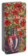 Red And Pink Poppies. Portable Battery Charger