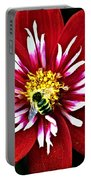 Red And White Flower With Bee Portable Battery Charger