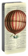 Red And White Striped Hot Air Balloon Antique Photo Portable Battery Charger