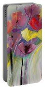 Red And Yellow Floral Field Painting Portable Battery Charger
