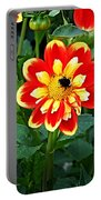 Red And Yellow Flower With Bee Portable Battery Charger