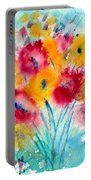 Red And Yellow Flowers Portable Battery Charger